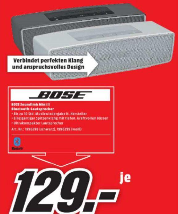 [Lokal Mediamarkt Köln-City am Dom] Bose Soundlink Mini 2,Bluetoothlautsprecher in Schwarz oder Silber für je 129,-€