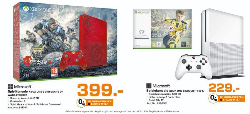 [Lokal Saturn Osnabrück] MICROSOFT Xbox One S 500GB Konsole - FIFA 17 Bundle für 229,-€ oder Microsoft Xbox One S 2TB - Gears of War 4 Limited Edition für 399,-€