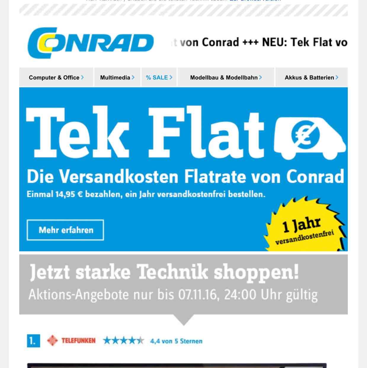 VersandkostenFlatrate bei Conrad für nur 14,95€ im Jahr