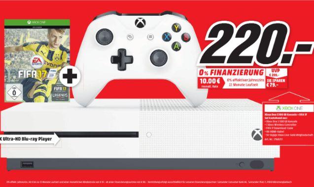 [Lokal Mediamarkt Magdeburg] MICROSOFT Xbox One S 500GB Konsole - FIFA 17 Bundle für 220,-€