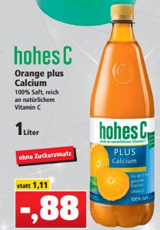 Hohes C Plus Orange + Calcium 1,0l für 0,88€ [Thomas Philipps]