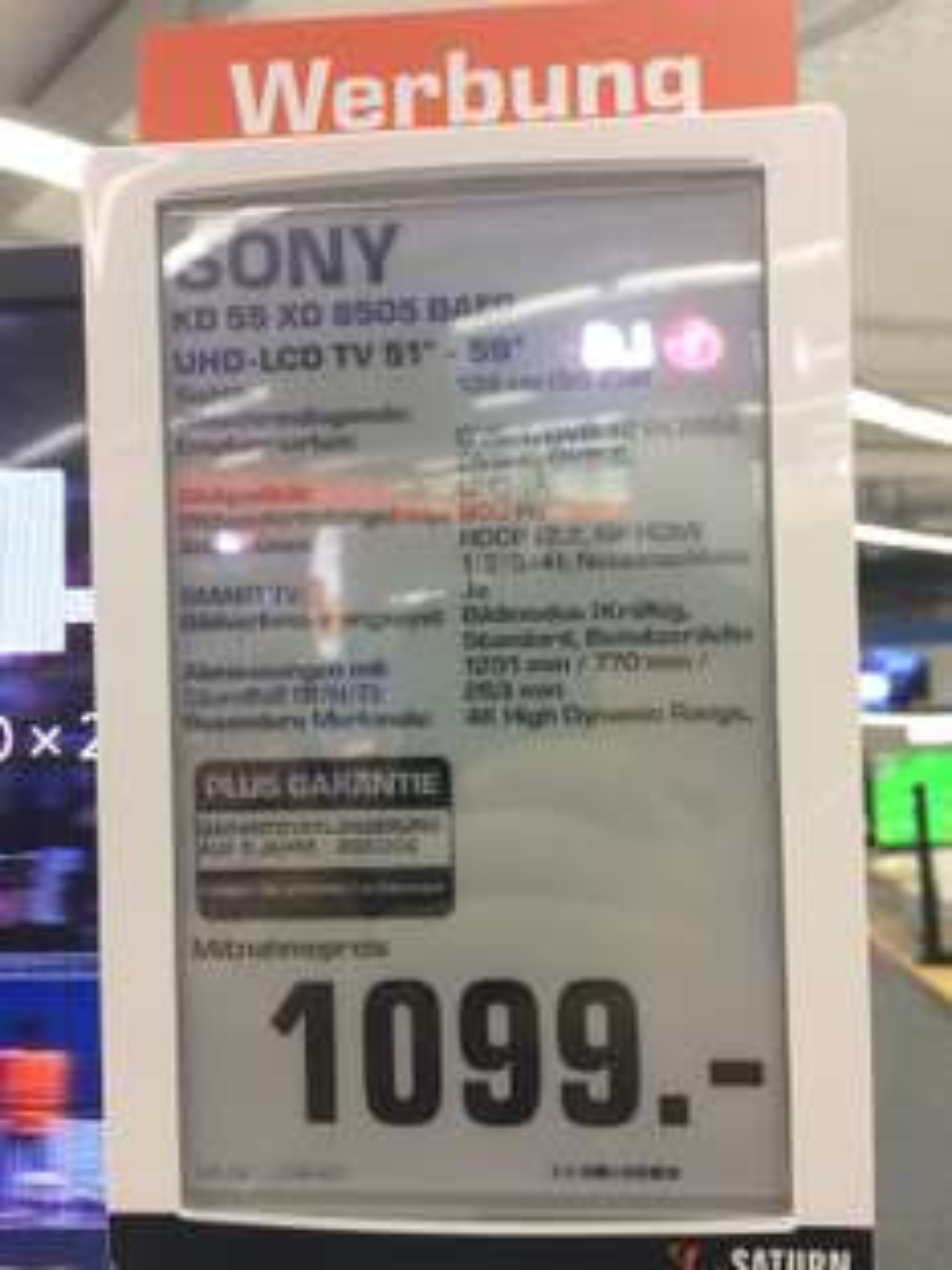 SONY KD 55 XD 8505 KD55XD8505 für 1099EUR im Saturn in Köln am Hansaring. Vergleichspreis 1299EUR.