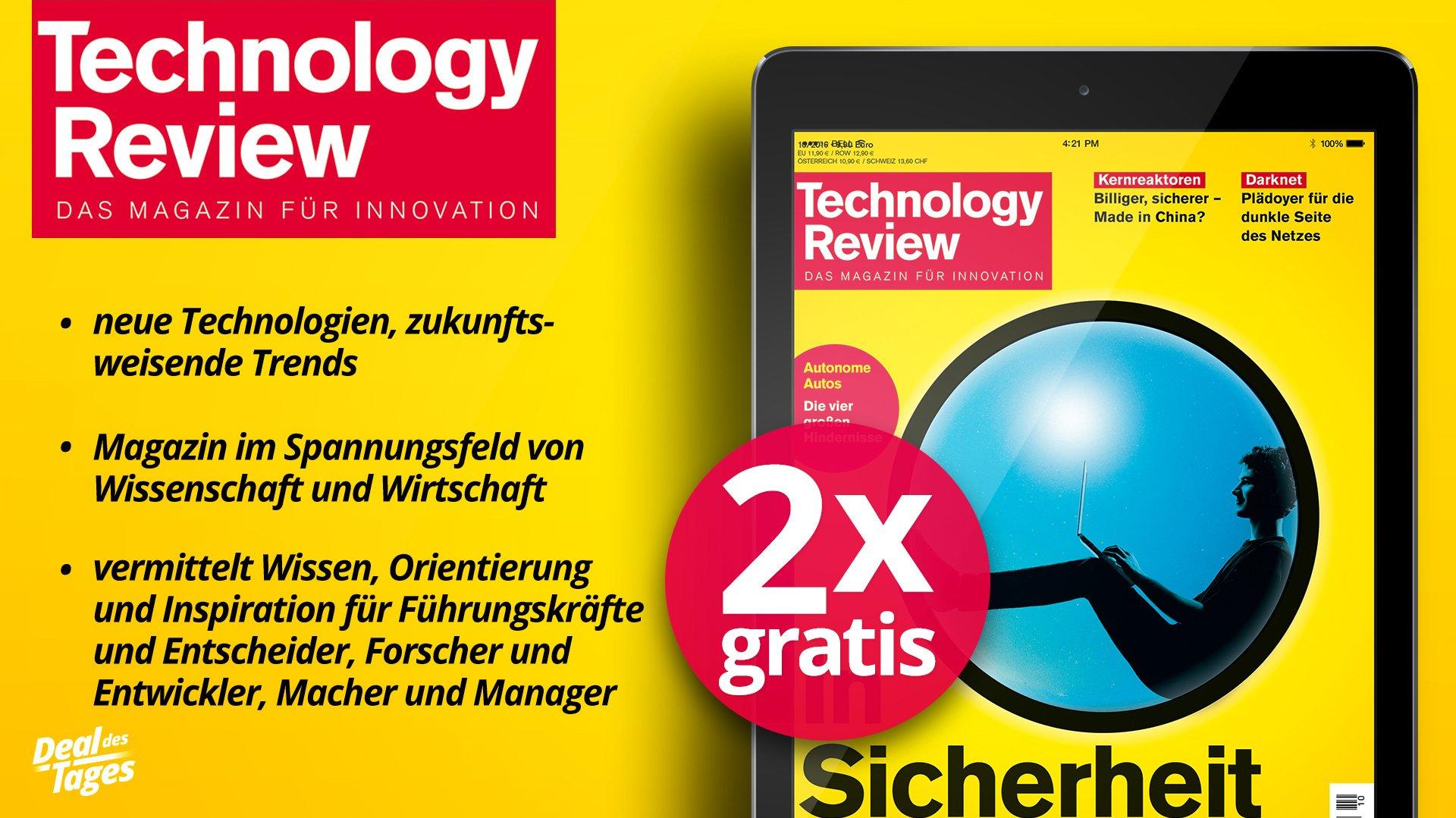 (heise.de) 2 x Technology Review Digital gratis. Kündigung notwendig