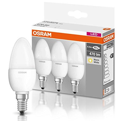 [AMAZON PRIME] OSRAM LED-Kerzenform E14 BASE Classic B / 5,7W - 40 Watt-Ersatz, LED-Kerzenlampe / matt, warmweiß - 2700K / 3er Promo-Pack