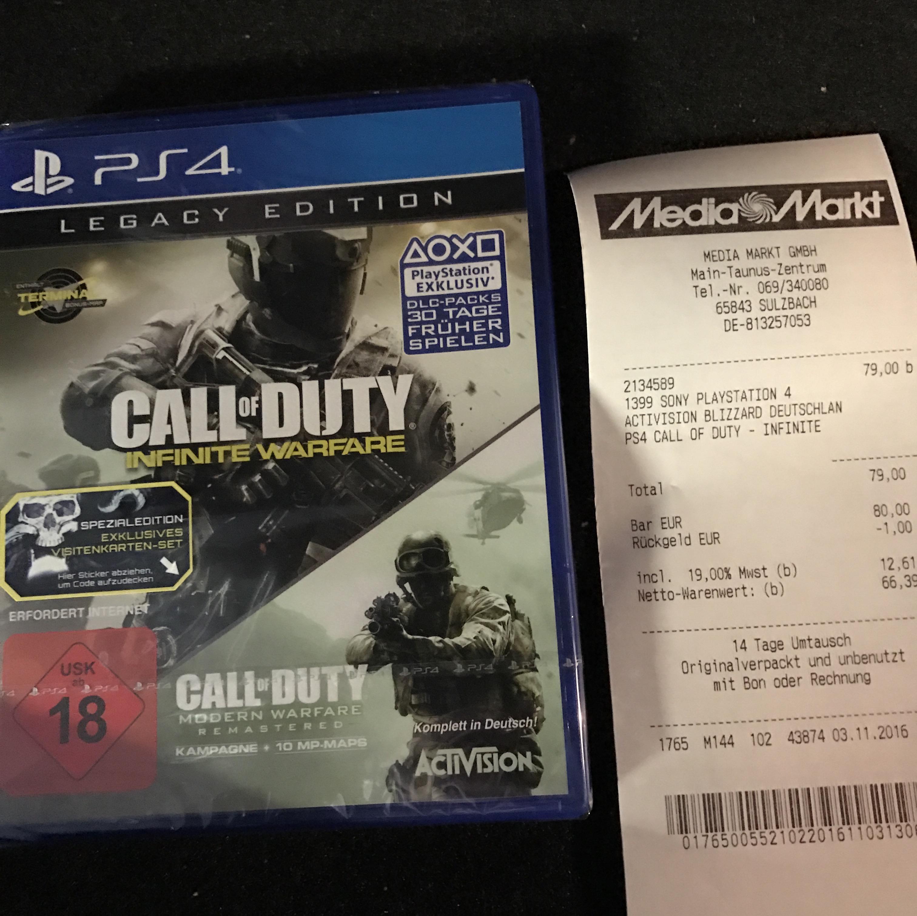 [LOKAL SULZBACH/MTZ]Call of Duty Infinite Warfare Legacy Edition Ps4 79,00 ab sofort im MTZ!!!!