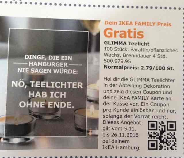 LOKAL HAMBURG Gratis GLIMMA Teelicht 100 Stück