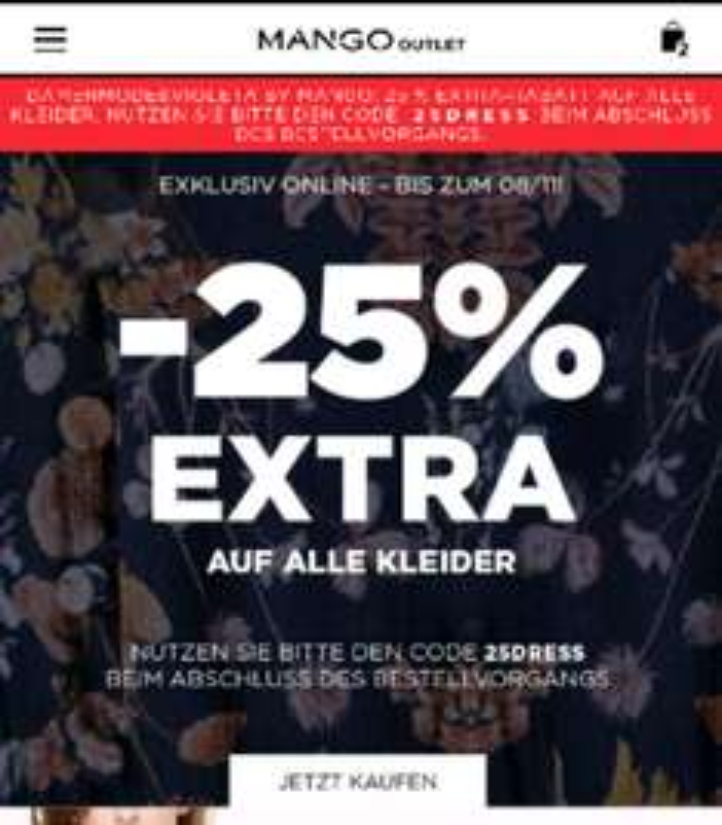 Mango Outlet 25% auf alle Kleider  (Nur bis zum 8.11)