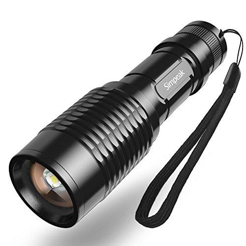 (Prime)Simpeak Handheld -Taschenlampe mit Fackel-justierbare Fokus-Zoom, 1000 Lumen Cree XM-L T6 High Power Tactical-Licht, 5 Modus für 8,98 EUR
