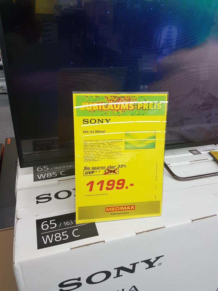 Medimax Heinsberg - Sony KDL65W859C für 1268,00 € inkl. Versand  KDL-65W859C
