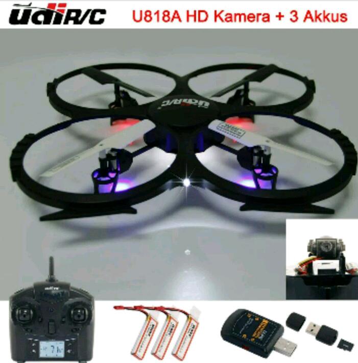 Drohne Quodrocopter UDI R/C U818a HD neuere Version mit Ton (Vergleichspreis: ca.80€)