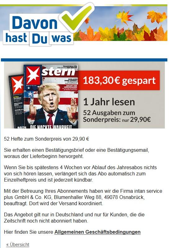 [STERN] 1 Jahr Stern Magazin Jahresabonnement für 29,90 EUR direkt