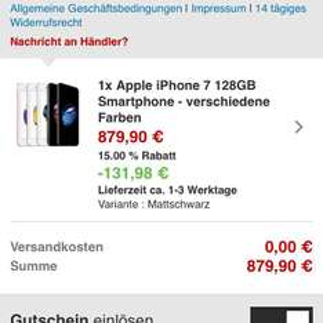iPhone 7 128GB schwarz matt