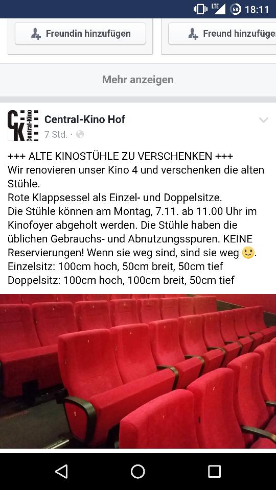 [Lokal] Gebrauchte Kinosessel zu verschenken - Central Kino Hof Saale