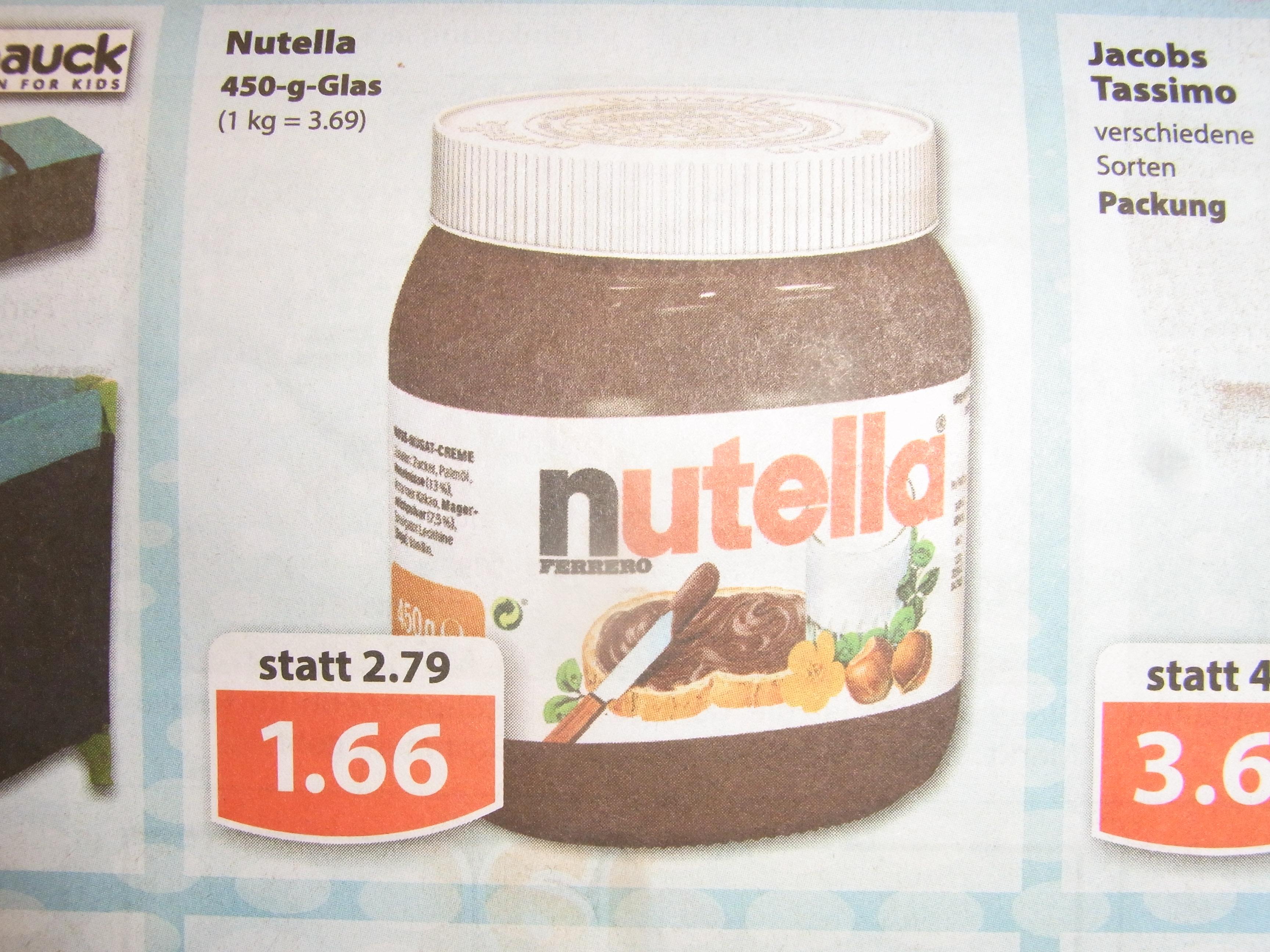 (Lokal) Nutella 450 g Glas  1,66€