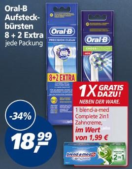 [Real] Oral-B Aufsteckbürsten Precision Clean oder Cross Action 8+2er Pack + gratis dazu die Zahncreme blend-a-med Complete 2in1 im Wert von 1,99€?