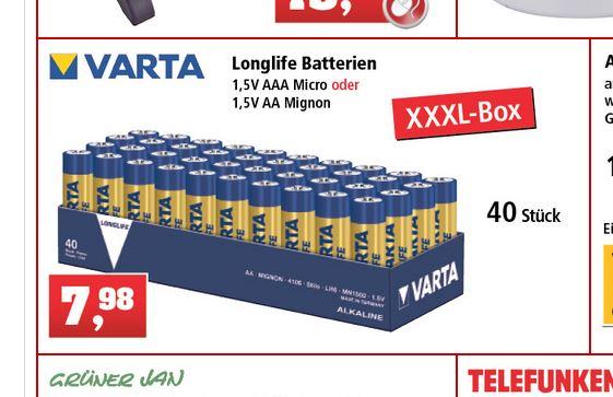[Thomas Philipps offline] Varta Longlife MN 1500 Batteriepack 40x Mignon (AA) oder 40x Micro (AAA) für 7,99 EUR