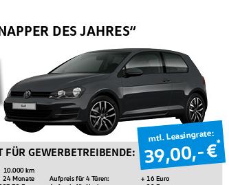 [Leasing Gewerbe] VW Golf Comfortline nur 39 EUR mit Anzahlung - 24 Monate - Leasingfaktor von nur 0,56%