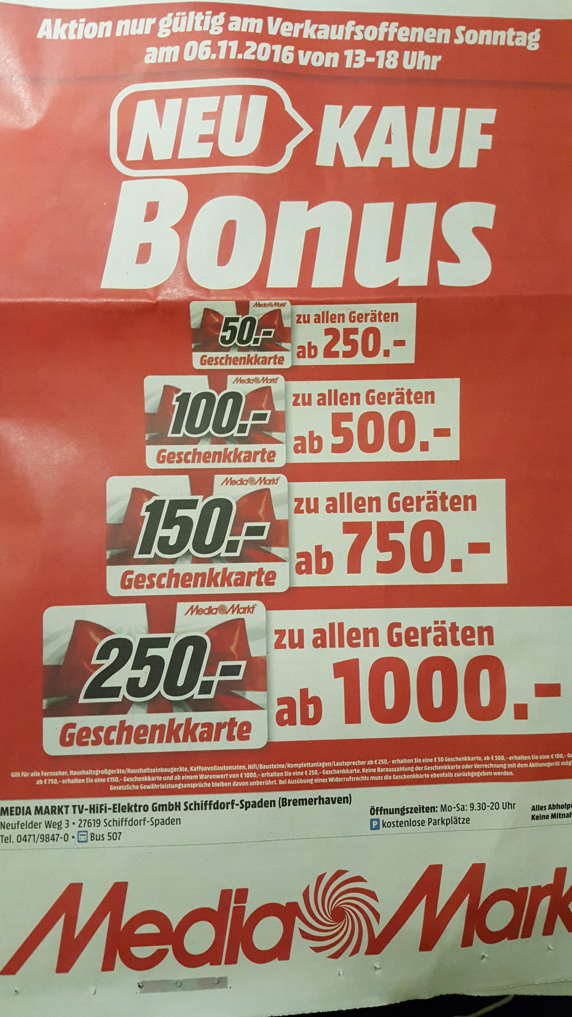 [Lokal] Media Markt Bremerhaven bis zu 250€ Geschenkkarten für den Einkauf