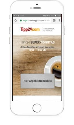 [TIPP24] Super-Sonntag: 6€ Rabatt auf 9€ MBW  (auch Bestandskunden)