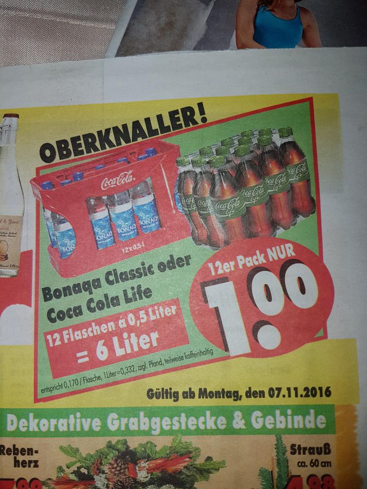 Coca Cola Life oder Bonaqua 12×0,5 Liter für 1€ (Lokal Becker Kassel)