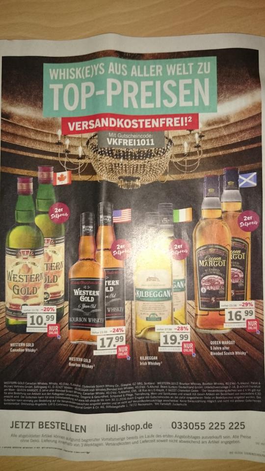 Lidl Onlineshop - 2er Whisky-Sets günstiger und VSK frei am 30€ MBW