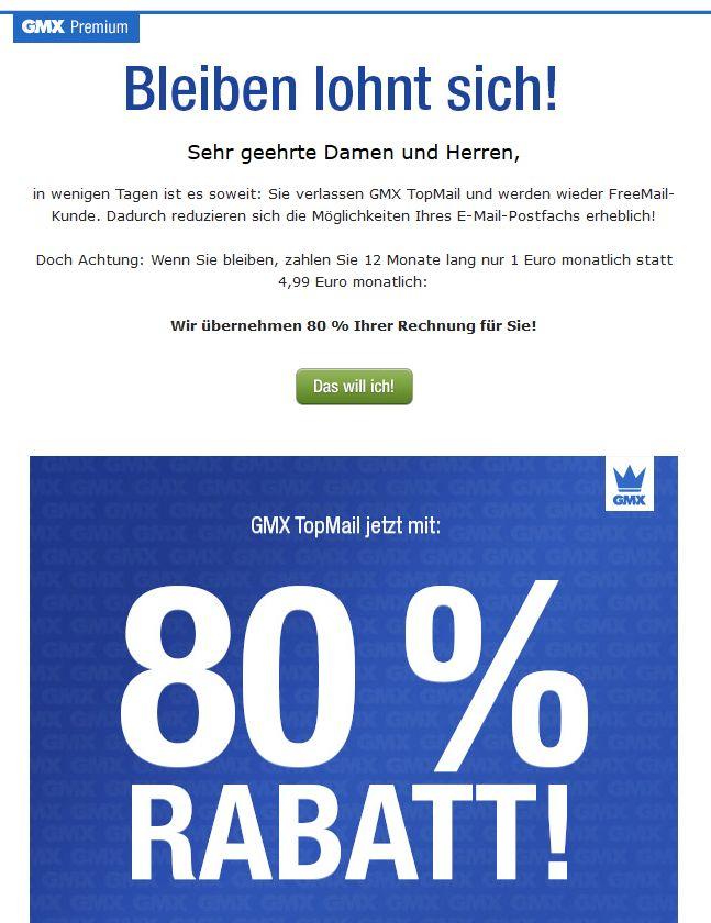 GMX Top Mail für 1€ anstatt 4,99€ für ein Jahr bei Kündigungswiderruf