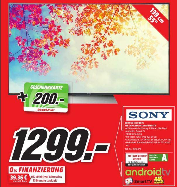 LOKAL Sony TV KD-55SD8505 Curved 4K HDR 120Hertz für 1299€ + 200€ Gutschein (Idealo ab 1399€)