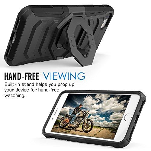 MoKo iPhone 7 Hülle - [Heavy Duty Serie] Stoßfest Outdoor Dual Layer Armor Case Handy Schutzhülle mit Gürtelclip und Ständer Schale Bumper für Apple iPhone 7 4.7 Zoll 2016 Smartphone, Schwarz