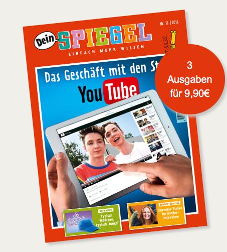 Dein Spiegel - Kindermagazin - 3 Ausgaben für 9,90€ + 5€ Amazon Gutschein = effektiv 4,90€