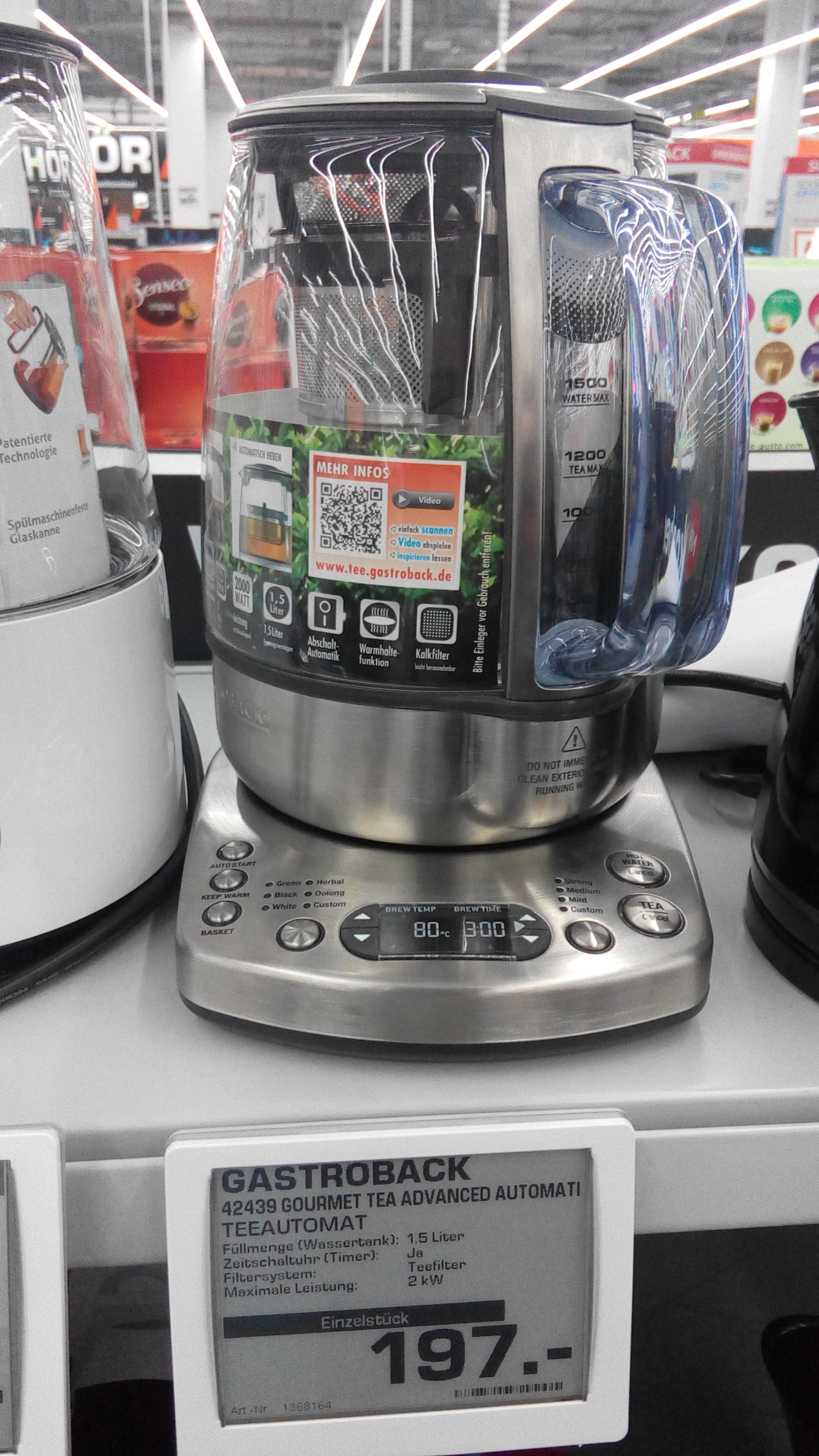 [Lokal Saturn Gummersbach] Teeautomat Gastroback 42439 Gourmet Tea Advanced Automatic