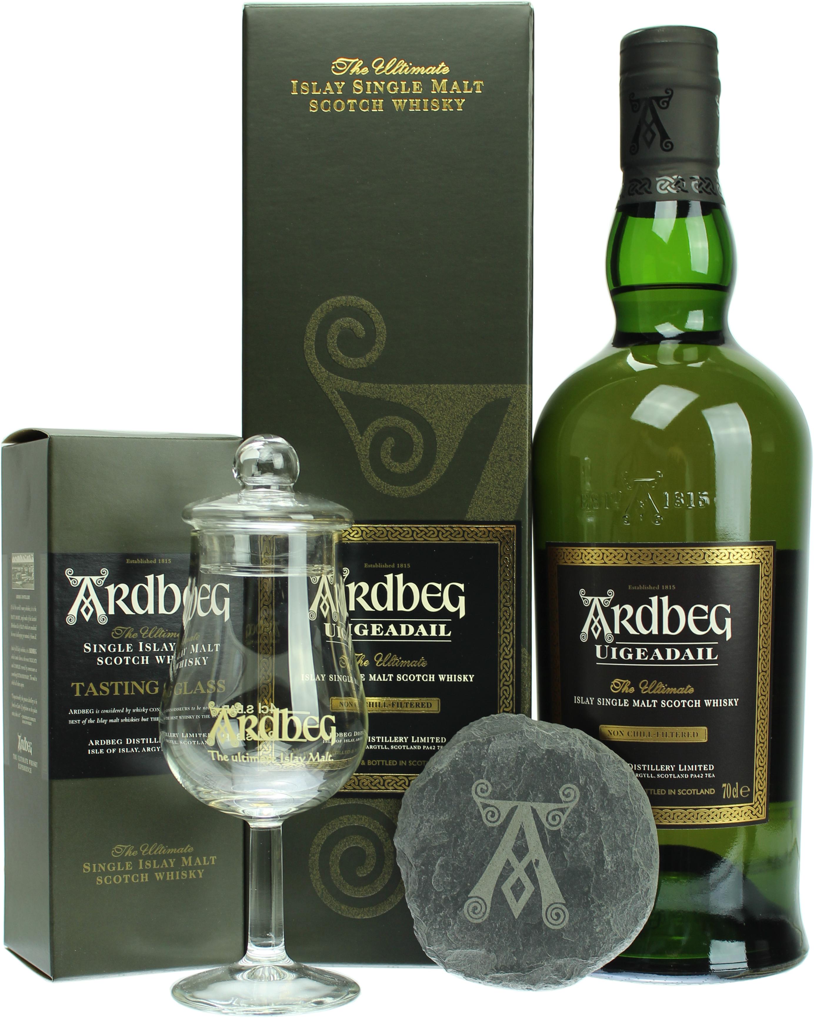 Whisky: Ardbeg Uigeadail 0,7l Geschenkset mit Nosingglas mit Deckel und Schiefer-Untersetzer (ab 75 Euro versandkostenfrei ==> 57,80 €)
