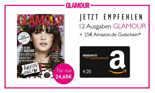 Glamour Magazin im Jahresabo (12 Ausgaben) für effektiv -0,40€ durch 25€ Amazon-Gutschein (inkl. 2 Glamour Week ShoppingCards)