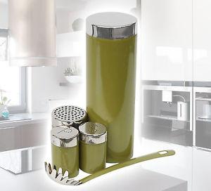 [Ebay] Einführungspreis - 5 Teiliges Olivgrünes Pasta Set Retro-Design Nudeldose Salz Pfeffer Käsestreuer