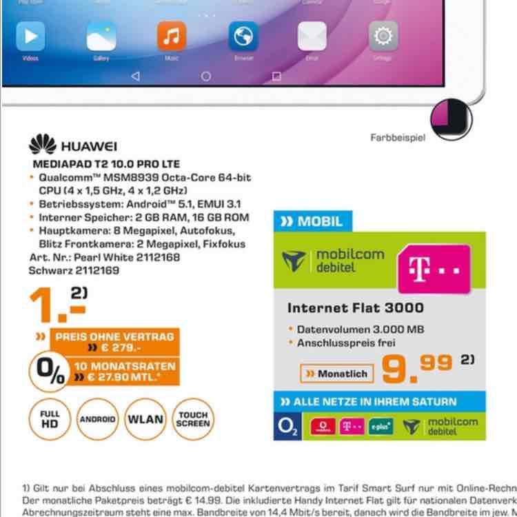 (Saturn Bochum) Huawei Mediapad T2 10.0 PRO LTE + Telekom Internet flat 3000