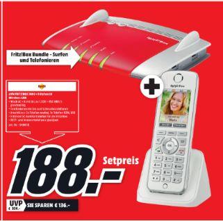 [Lokal Mediamarkt Buchholz] AVM FRITZ!?Box 7490 WLAN Router mit integriertem DSL Modem + AVM FRITZ!?Fon C4 Schnurloses IP-Telefon für zusammen 188,-€