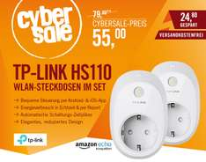 2x TP-Link HS110 WLAN Smart-Home Steckdose / mit Energiemonitor / Alexa, ECHO kompatibel 55,-