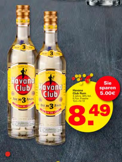 [Minden + Umgebung LOKAL] Havana Club 3 Jahre 0,7 Liter für 8,49 in allen WEZ Märkten