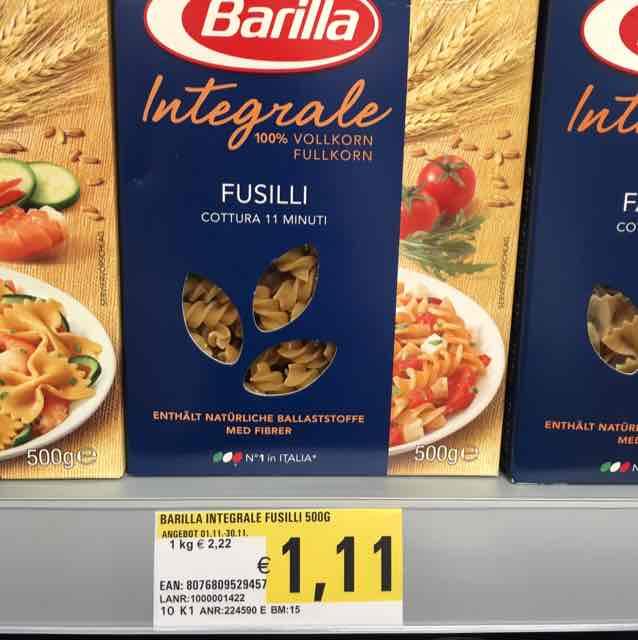 [Lokal V Markt Bad Wörishofen] Barilla Integrale verschiedene Sorten 1,11 Euro