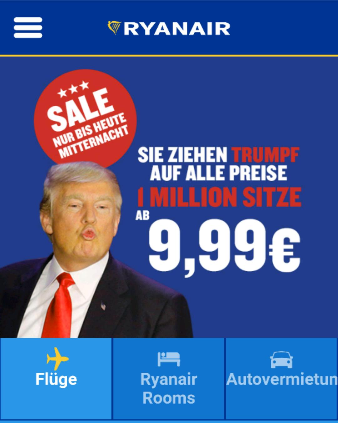 1 Million Sitze ab 9,99€ bei Ryanair