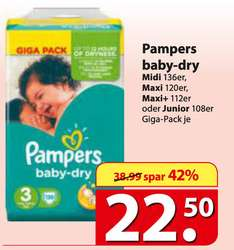 Pampers Baby Dry GigaPack (108-136 St.) bei Famila (0,14 Euro / Windel)
