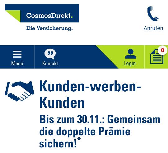 KwK CosmosDirekt z.B. Single-Haftpflicht mit 250€ SB für eff. 0,53€
