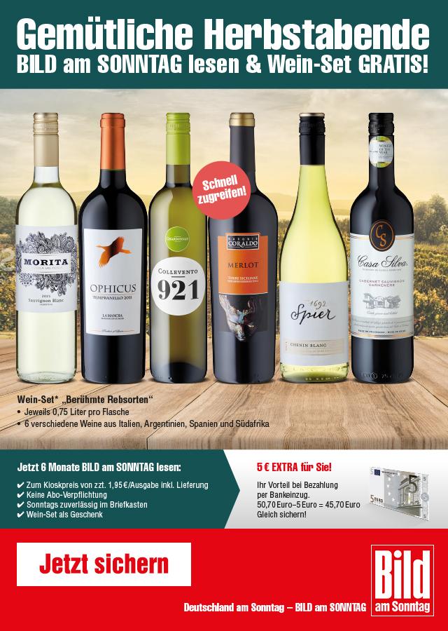 6 Flaschen Wein gratis fürs lesen der Bild am Sonntag