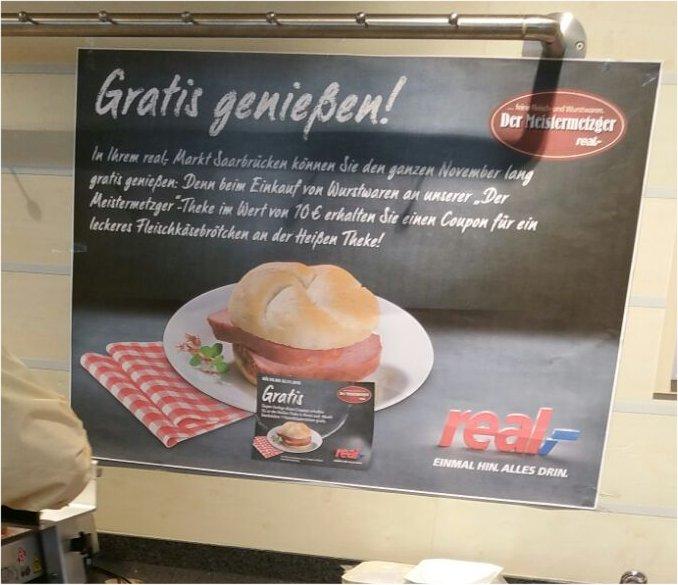 [ Local ] Real Saarbrücken - Gratis Fleischkäsebrötchen ab 10 Euro MKW