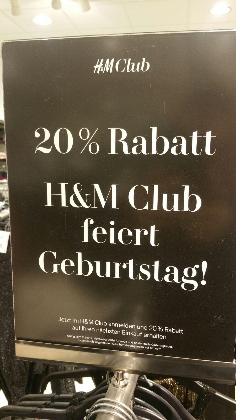 H&M - 20% Rabatt (H&M Club feiert Geburtstag)