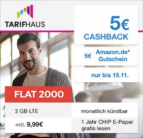 Tarifhaus: Allnet Flat + 2 GB LTE +Festnetznummer + abwählbare Datenautomatik + EU Flat + für 9,99 € / Monat + 5€ Cashback + 5€ Amazon.de Gutschein