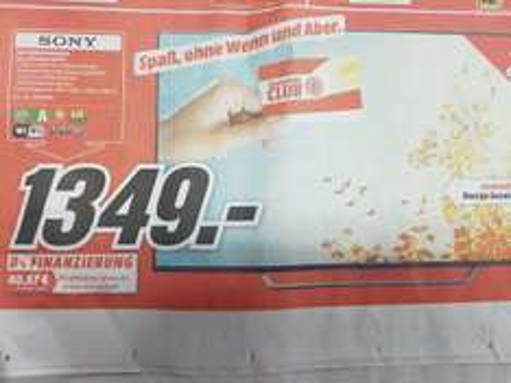 wieder da, SONY KD65XD7505BAEP 1349,- euro statt 1518,- LED TV (Flat, 65 Zoll, UHD 4K, SMART TV, Android TV) (Mediamarkt Nordhorn)