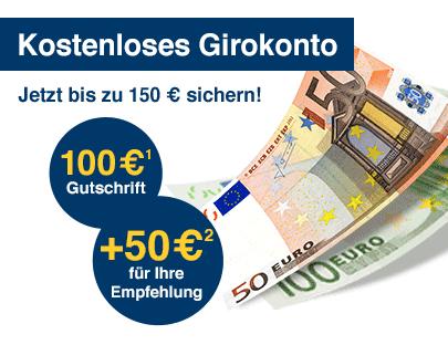 Kostenloses Girokonto + 150€ Gutschrift bei der 1822-Bank (Direkt-Bank der Sparkasse Frankfurt)