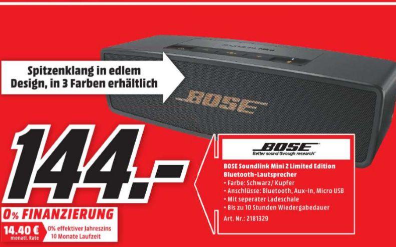 [Lokal Mediamarkt Cottbus] BOSE Soundlink Mini II Limited Edition, Bluetooth Lautsprecher, Schwarz/Kupfer für 144,-€ (Auch in Schwarz oder Weiß)