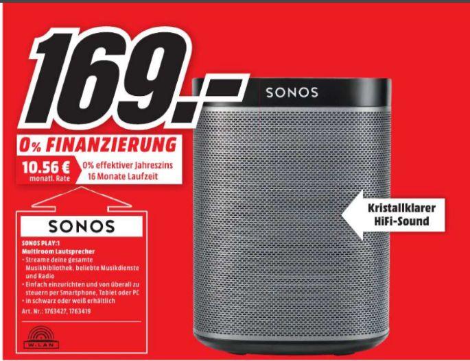 [Lokal Mediamarkt Bielefeld] Sonos PLAY:1 I Kompakter Multiroom Smart Speaker für Wireless Music Streaming (Weiß oder Schwarz] für je 169,-€