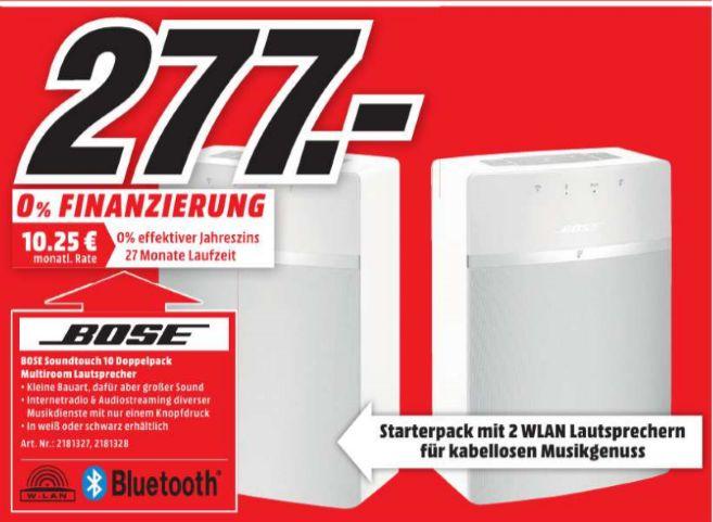 [Lokal Mediamarkt Bielefeld] Bose SoundTouch 10 - Streaming Lautsprecher (App-steuerbar, Bluetooth, 802.11 b/g/n, Weiß oder Schwarz) als Doppelpack für 277,-€